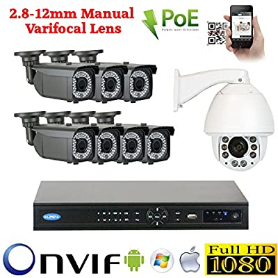 GW Security 8 Camera 1080P PoE IP CCTV Kit : 7 x 1080P IP PoE 2.8-12mm Bullet Cameras + 1 x 1080P Auto Tracking IP PTZ 4.7 ~ 94mm 20 times Zoom + 1x 8 Channel 1080P NVR + 1 x 2TB HDD *** High Definition Video Surveillance For Your Home or Business