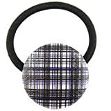 Taupe Blue Black White Sparkle Plaid Pleather Fabric Covered Button Hair Elastic