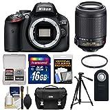 Nikon D5100 Digital SLR Camera Body with 55-200mm VR Lens + 16GB Card + Case + Filter + Remote + Tripod + Cleaning Kit
