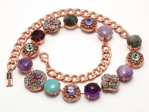 Collar Necklace from 'Spring Vibration' Collection by Amaro Jewelry Studio with Stylized Flower Links Set with Rainbow Fluorite, Labradorite, Lavender Cape Amethyst, Amethyst, Amazonite and Swarovski Crystals; 24K Rose Gold Plated