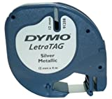 DYMO S0721730 - LETRATAG METALLIC TAPE 12MMX4M - BLACK/SILVER IN