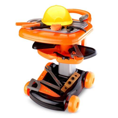 Spielzeug Werkbank auf Rädern mit Griff zum Schieben und großer Auswahl an Spiel-Werkzeug im drehbaren Werkzeug-Tablet. KOMMT MIT GRATIS KINDER BAUHELM!