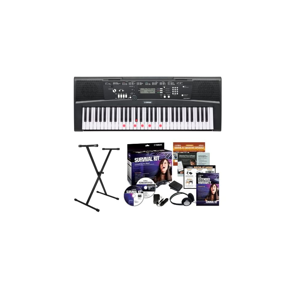 Yamaha EZ220 61 Key Lighted Key Portable Keyboard Bundle with X Style Keyboard Stand and Survival Kit (Includes Power Supply and Headphones)