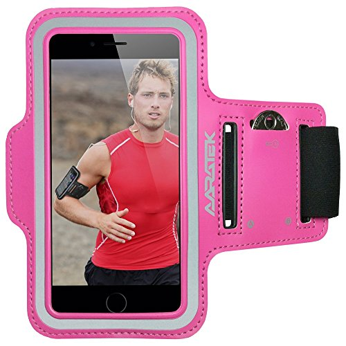 AARATEK Pro Sport Armband for iPhone 6|6s, Galaxy S6|S5|S4 (Pink) - Rated #1 - Best for workouts, running, cycling, or any fitness activity outside or in the gym - Room for cash/card too!