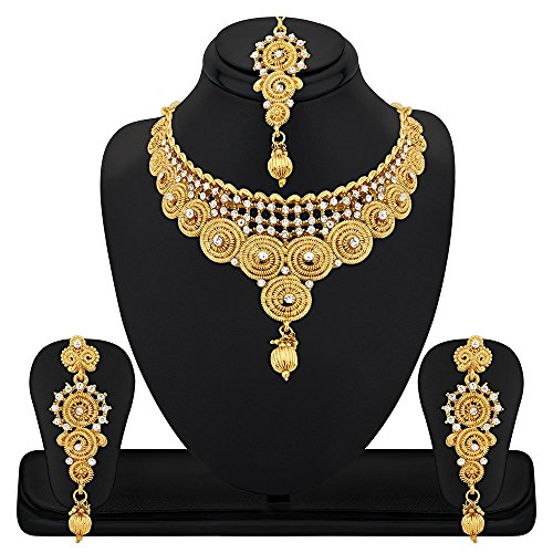 REEVA JALEBI DESIGN GOLD PLATED UNIQUE NECKLACE SET WITH AUSTRIAN DIAMOND