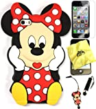 Bukit Cell ® 3D Disney Case Bundle - 5 items: RED 3D Cute Minnie Mouse Soft Silicone Case Cover for IPHONE 5S 5 5G + BUKIT CELL Trademark Lint Cleaning Cloth + Minnie Figure Anti Dust Plug Stylus Touch Pen + Screen Protector + METALLIC Stylus Touch Pen with Anti Dust Plug
