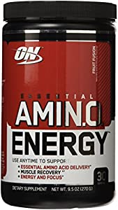 Optimum Nutrition Essential Amino Energy, Fruit Fusion, 30 Servings, 9.5 Ounce (Pack of 3)
