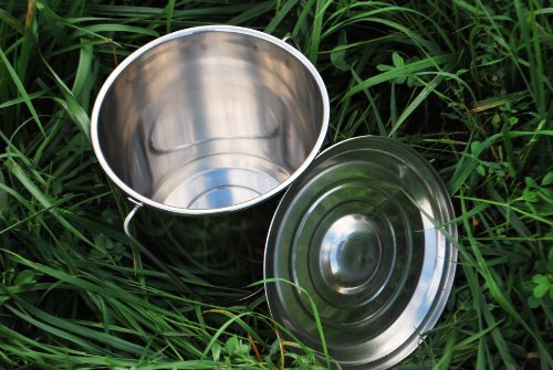 Stainless Steel Milk Bucket with Lid 14 Qt Dairy Pail (Stainless Steel Pail With Lid compare prices)