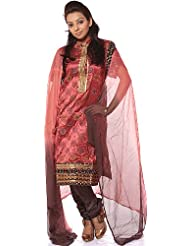 Exotic India Redwood Salwar Suit With Bootis Woven In Silver And Golde - Redwood