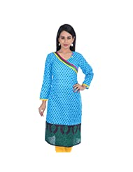 Rung Women's Cotton Printed Blue 3/4th Sleeves Long Kurti