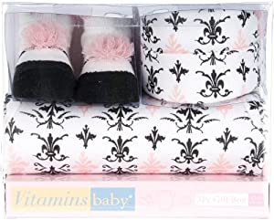 Vitamins Baby Baby-Girls born 3 Piece Damask Gift Set from Vitamins Baby