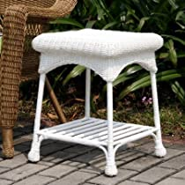 Wicker Lane Outdoor Wicker End Table W00295 (White)