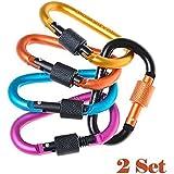 OrangeTag Clip Hook, WOVTE® Aluminum Carabiner Screw Lock D-ring Key Chain Clip Hoo...