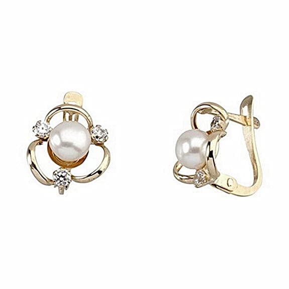 18k gold cultured pearl earrings three bands 3 zircons [6641P]