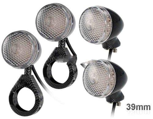 39 Mm Carbon Fiber Led Turning Signal Lights For Harley Motorcycle 4Pcs/Set