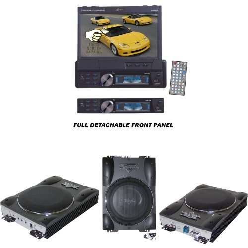 Lanzar Car Dvd Player And Amplified Subwoofer Package - Sdbt73N 7'' Single Din In-Dash Motorized Touch Screen Tft/Lcd Monitor With Dvd/Cd/Mp3/Mpeg4/Usb/Sd/Am/Fm/Rds Receiver - Vctbs8 Vector 8'' Ultra Slim 600 Watt High Power Amplified Subwoofer Enclosure