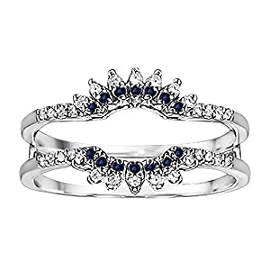 0.22CT Diamond and Sapphire Contoured Wedding Ring Jacket set in Sterling Silver (0.22CT TWT G-H I2-I3 Diamond and Sapphire)