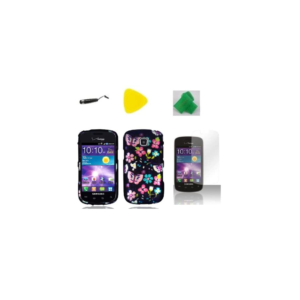Flower Butterfly Faceplate Hard Phone Case Cover Cell Phone Accessory + Yellow Pry Tool + Screen Protector + Stylus Pen + EXTREME Band for Samsung Illusion i110 / Galaxy Proclaim S720C SCH S720C  Verizon Straight Talk