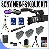Sony NEX-FS100UK Super 35mm Sensor Camcorder (with Lens) + 2-32GB SDHC Memory Cards (Double Memory Kit!!) + 3 Extra Extended Life Batteries + Ac/Dc Rapid Charger + 3 Piece Filter Kit + USB Card Reader + Shock Proof Deluxe Case + Professional Full Size Tripod + Lens Pen Cleaner + Accessory Saver Bundle!
