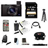 Sony DSC-RX100M III DSC-RX100M3 RX100M3 DSCRX100MIII RX100MIII Cyber-shot Digital Still Camera + Sony 64GB SDHC Class 10 UHS-1 R40 Memory Card + Sony LCSCSUB LCS-CSUB Case Black + Wasabi Power Battery (2) and Charger Kit for Sony NP-BX1 + Vivitar 7-inch Mini Flexible Spider Tripod + Focus FC-CR1 All In One High Speed Card Reader + Focus Deluxe Accessory Kit