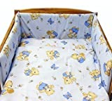 BABY TODDLER JUNIOR BED COT BUMPER 35 cm x 150 cm 138 x 59 Blue Bear