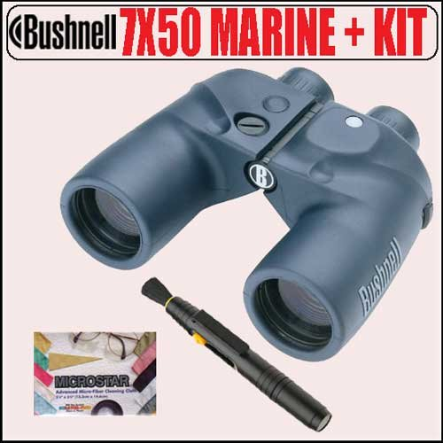 Bushnell Marine 7X50 Porro Binoculars W/ Grid Reticle, Illum. Compass, Black 13-7500