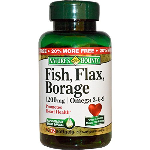 Nature's Bounty, Fish, Flax, Borage, Omega 3-6-9, 1200 mg, 72 Softgels - 2pc (Natures Bounty Omega 3 6 compare prices)