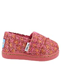 Toms Tiny Toddler Classic In Red Glimmer Houndstooth