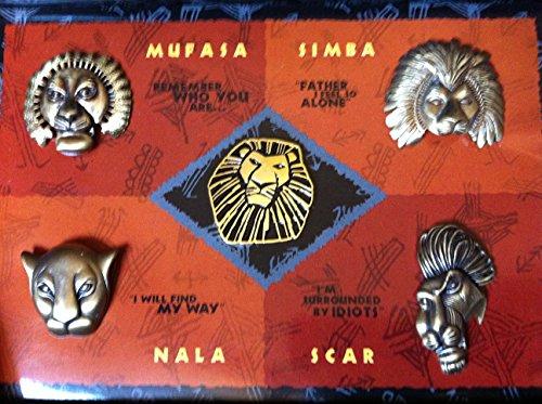 [Disney's The Lion King Pin Set Limited Edition The Broadway Musical 5 Piece Design by Julie Taymore Nala Mufasa Simba] (Disney Nala Costume)