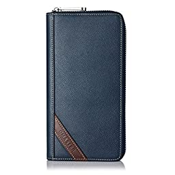 GMASTER Men\'s Palm Skin Zip Around Wallet Stops Electronic Pick Pocketing Works Against Identity Theft & Credit Card Data Breach by Stopping RFID Scans (Blue)