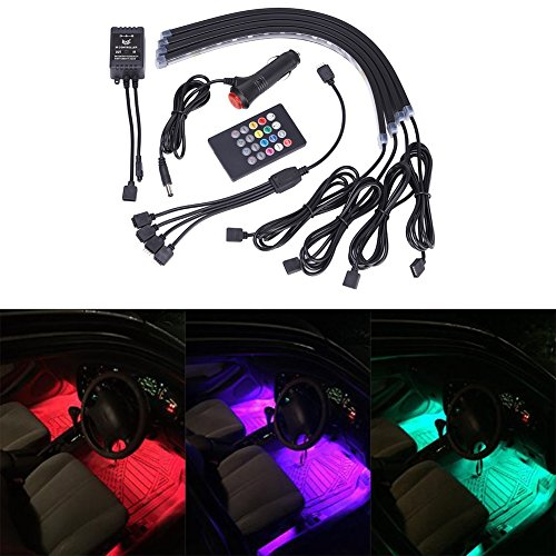GHB Car Interior Underdash Lighting Kit 8 Color Car Interior Light LED 4 Pcs With Sound Active Function and Remote Control (Car Charger Green Led Lights compare prices)