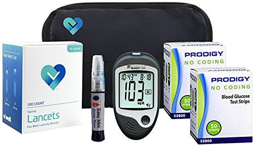 OWell Prodigy AutoCode Complete Diabetes Blood Glucose Testing Kit, TALKING METER, 100 Test Strips, 100 Lancets, Lancing Device, Manual, Log Book & Carry Case