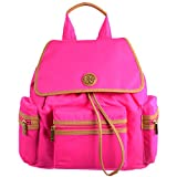 Tory Burch Nylon Backpack Neon Cherry/Aged Vachetta