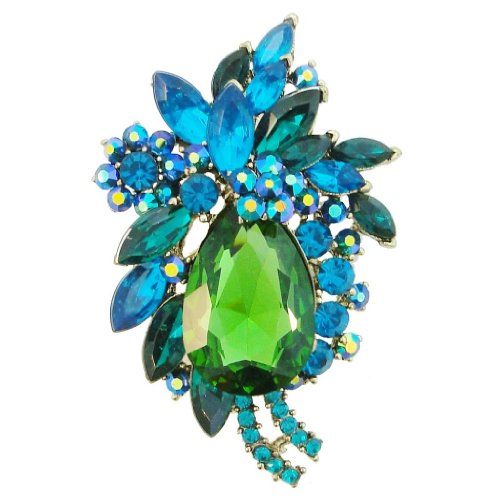 Gold-Tone Flower Brooch Pendant Emerald Color
