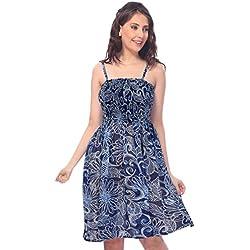 one-size-fits-più tubino / insabbiamento -sheer partywear fiore stampato blu