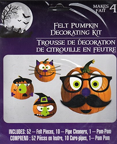 Halloween Felt Pumpkin Decorating Kit- Makes 4 - 1