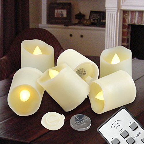 Flameless Candles LED Votive Unscented Tealight - Remote Control Timer Tea Lights - Include Battery Operated 200+ Hours - Flickering Amber Yellow Flame 3 Modes - Decoration Wedding Holiday 6 Candles (Remote Control Votive Candles compare prices)