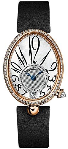 Breguet Reine de Naples Mother of Pearl Dial 18kt Rose Gold Black Leather Ladies Diamond Watch 8918BR58864D00D