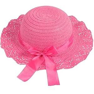Hangqiao Ni?as sombrero de sol Verano gorro gorra Encaje paja viaje playa anti-sol - BebeHogar.com