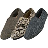 MEN'S LETTER PRINT CANVAS FLAT SHOES SLIP-ON SNEAKERS