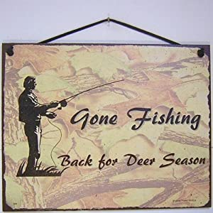 "Amazon.com - Vintage Style Sign Saying, ""Gone Fishing Back ..."