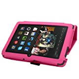 """SAMRICK - Amazon Kindle Fire HDX 7"""" Inch - Executive Specially Designed Leather Book Folio Wallet Case With Exclusive Viewing Stand - Pink"""