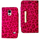 myLife (TM) Hot Pink Leopard Fur - Glammor Design - Koskin Faux Leather (Card, Cash and ID Holder + Magnetic Detachable Closing) Slim Wallet for NEW Galaxy S5 (5G) Smartphone by Samsung (External Rugged Synthetic Leather With Magnetic Clip + Internal Secure Snap In Hard Rubberized Bumper Holder + Lifetime Warranty + Sealed Inside myLife Authorized Packaging) ADDITIONAL DETAILS: This lightweight Galaxy S5 wallet is made of durable and high quality synthetic leather. The leather itself is textured to prevent the wallet from slipping out of your hand while being handled. This wallet comes with a magnetic clasp.
