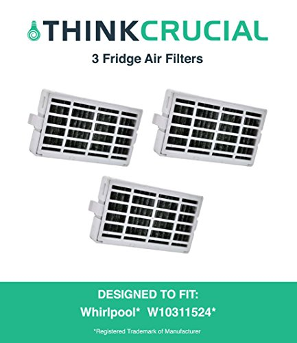 3-pack Refrigerator Air Filters fits Whirlpool Air1 Fresh Flow Compare to Part # W10311524, 2319308 & W10335147, Designed & Engineered by Crucial Air (Kitchen Aid Air Filter compare prices)