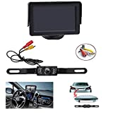 Backup Camera and Monitor Kit , AGPtEK Universal Waterproof Adjustable CMOS Rear-view License Plate Car Rear Backup Camera + 4.3 LCD Rear View Monitor