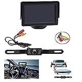 Backup Camera and Monitor Kit , AGPtEK Universal Waterproof Adjustable CMOS Rear-view License Plate Car Rear Backup Camera + 4.3 LCD Rear View Monitor