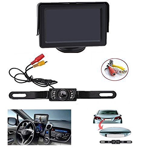Backup Camera and Monitor Kit , AGPtEK Universal Waterproof Adjustable CMOS Rear-view License Plate Car Rear Backup Camera + 4.3 LCD Rear View Monitor (Camera Car Reverse compare prices)