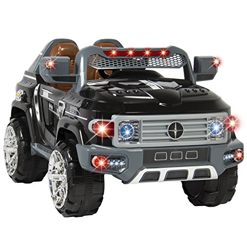 best choice products kids 12v mp3 truck car with led lights aux music black