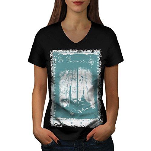 st-thomas-harbour-famous-place-women-new-black-l-v-neck-t-shirt-wellcoda