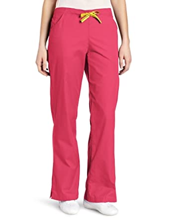 WonderWink Women's Scrubs Mink Featherweight Flare Leg Fashion Pant, Hot Pink, Medium/Petite